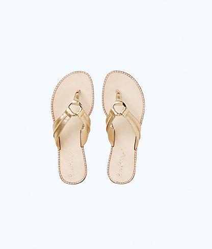 Lilly Pulitzer Womens Mckim Leather Sandal In Gold Metallic