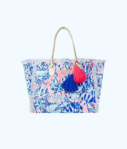 Lilly Pulitzer Gypset Frayed Beach Tote Bag In Blue Ibiza Shell Search Accessories