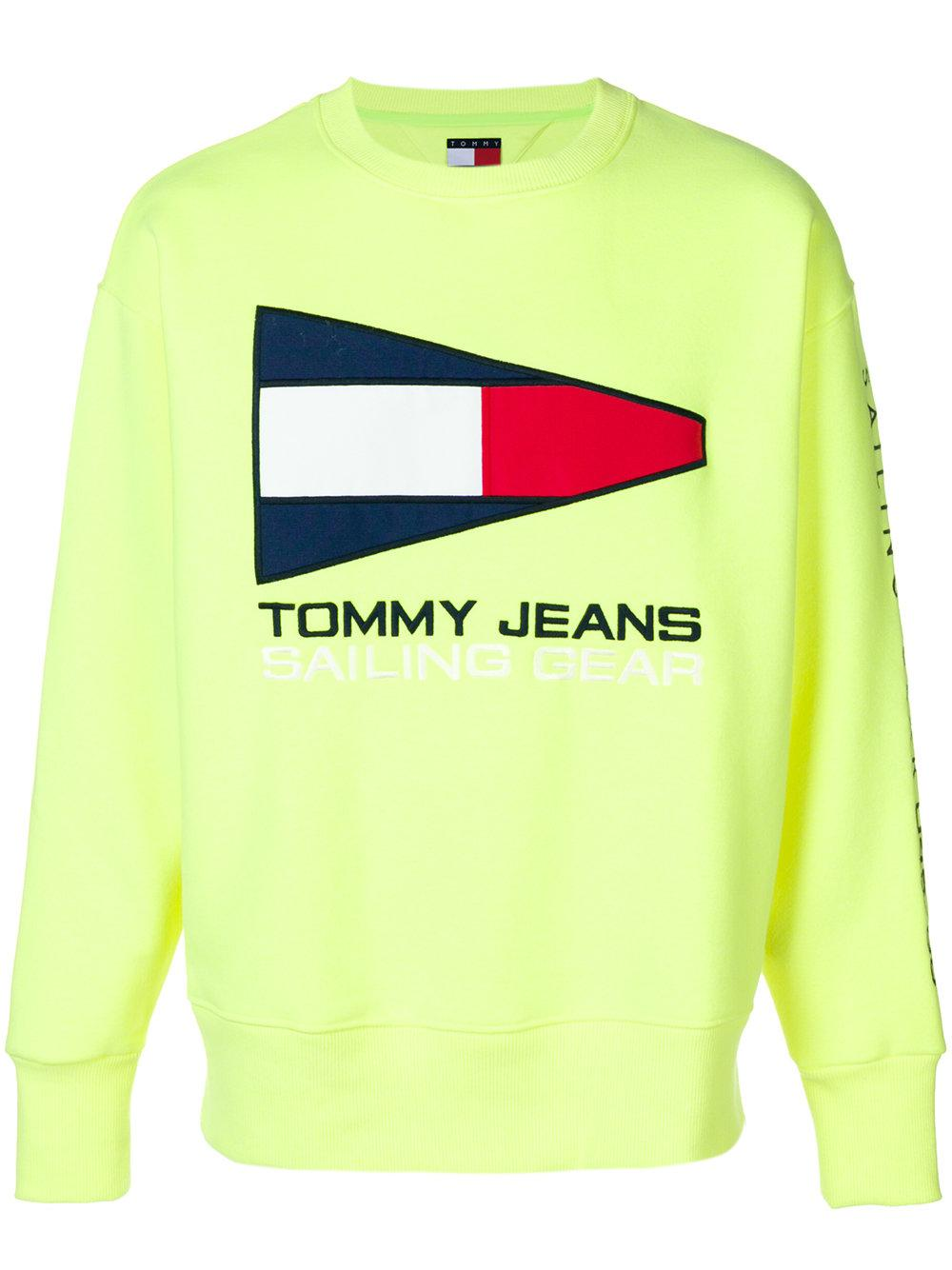 735d622491c Tommy Jeans 90S Sailing Capsule Flag Logo Crew Neck Sweatshirt In Neon  Yellow - Yellow