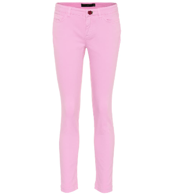 Dolce & Gabbana Rose Button Skinny Jeans In Pink