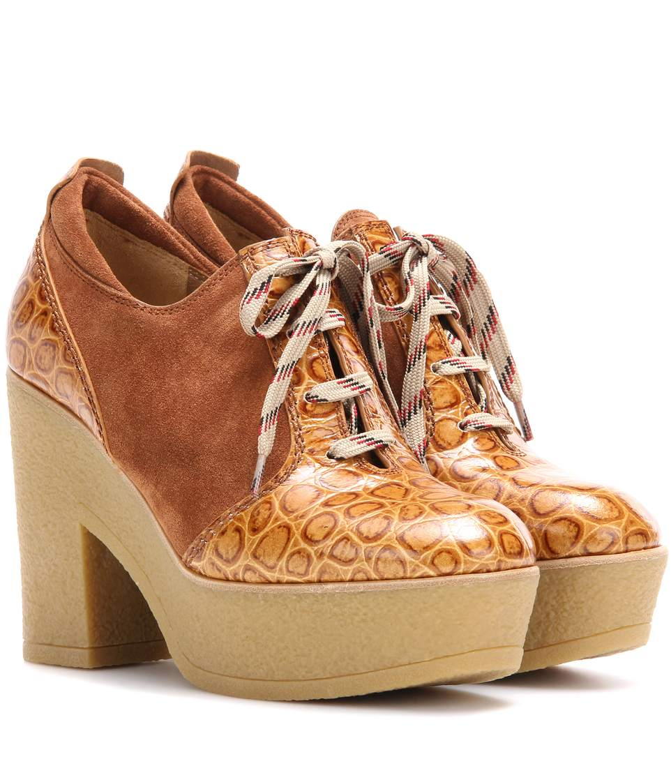 See By ChloÉ Platform Lace-up Suede And Leather Ankle Boots In Whisky