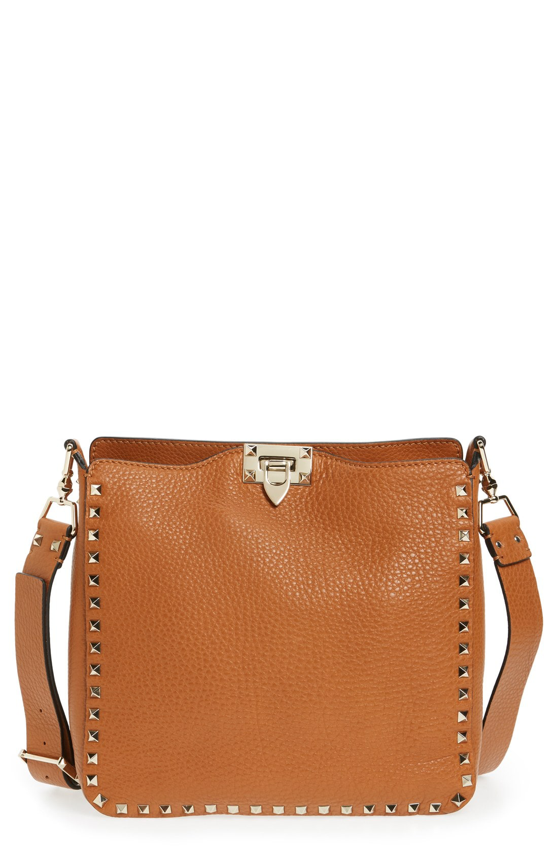 374c2d8236 Valentino Rockstud Small Flip-Lock Messenger Bag, Light Cuir In Cognac
