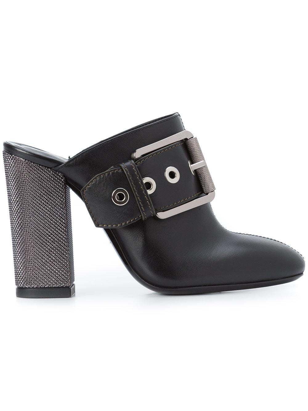 Barbara Bui Buckle Front Boot Style Mules - Black