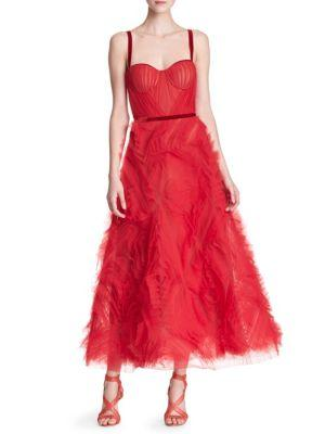 Marchesa Notte Sleeveless Tulle Gown In Red