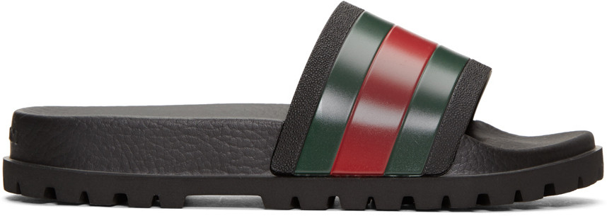 2953e815c721 Gucci Tricolor Pursuit Trek Stripes Sandals In 1098 Black