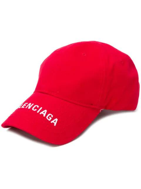 Balenciaga Logo-embroidered Cotton-twill Baseball Cap In Red