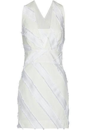 Milly Woman Frayed Cotton-Blend Jacquard Mini Dress Off-White