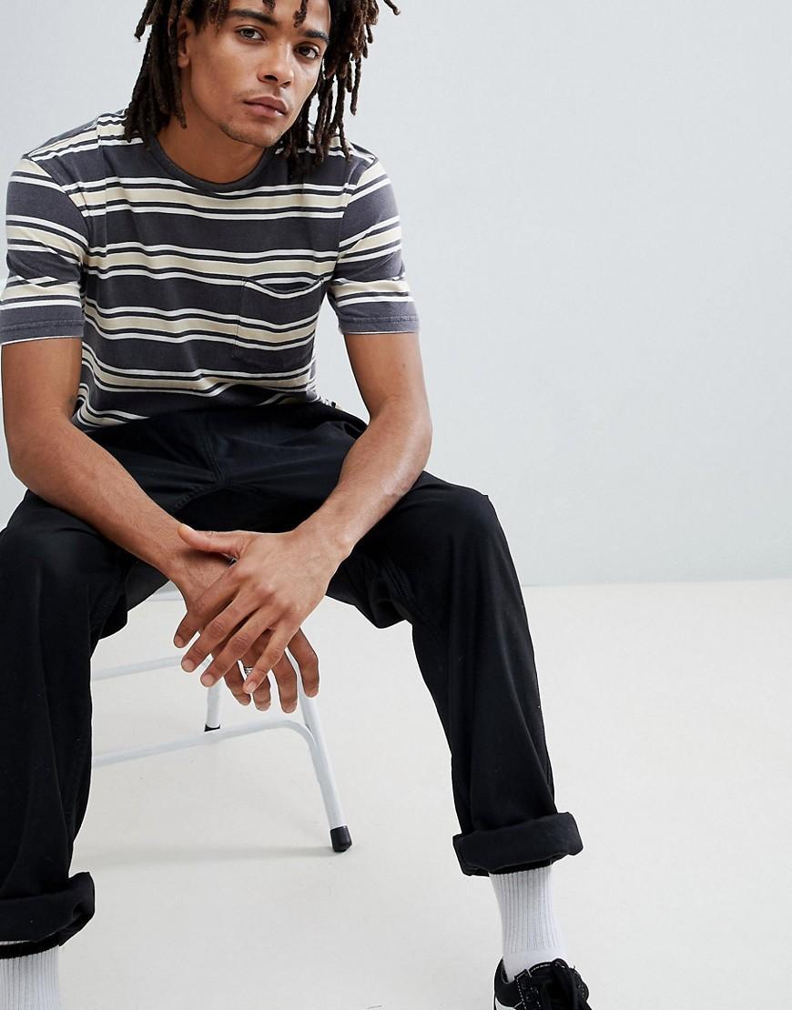 99ab189f8b Brixton Hilt Washed Striped T-Shirt With Pocket - Black | ModeSens
