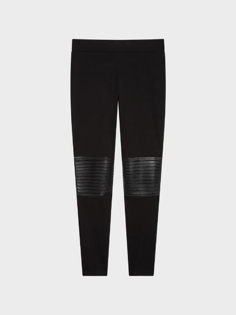 Donna Karan Pintuck Faux Leather Legging In Black