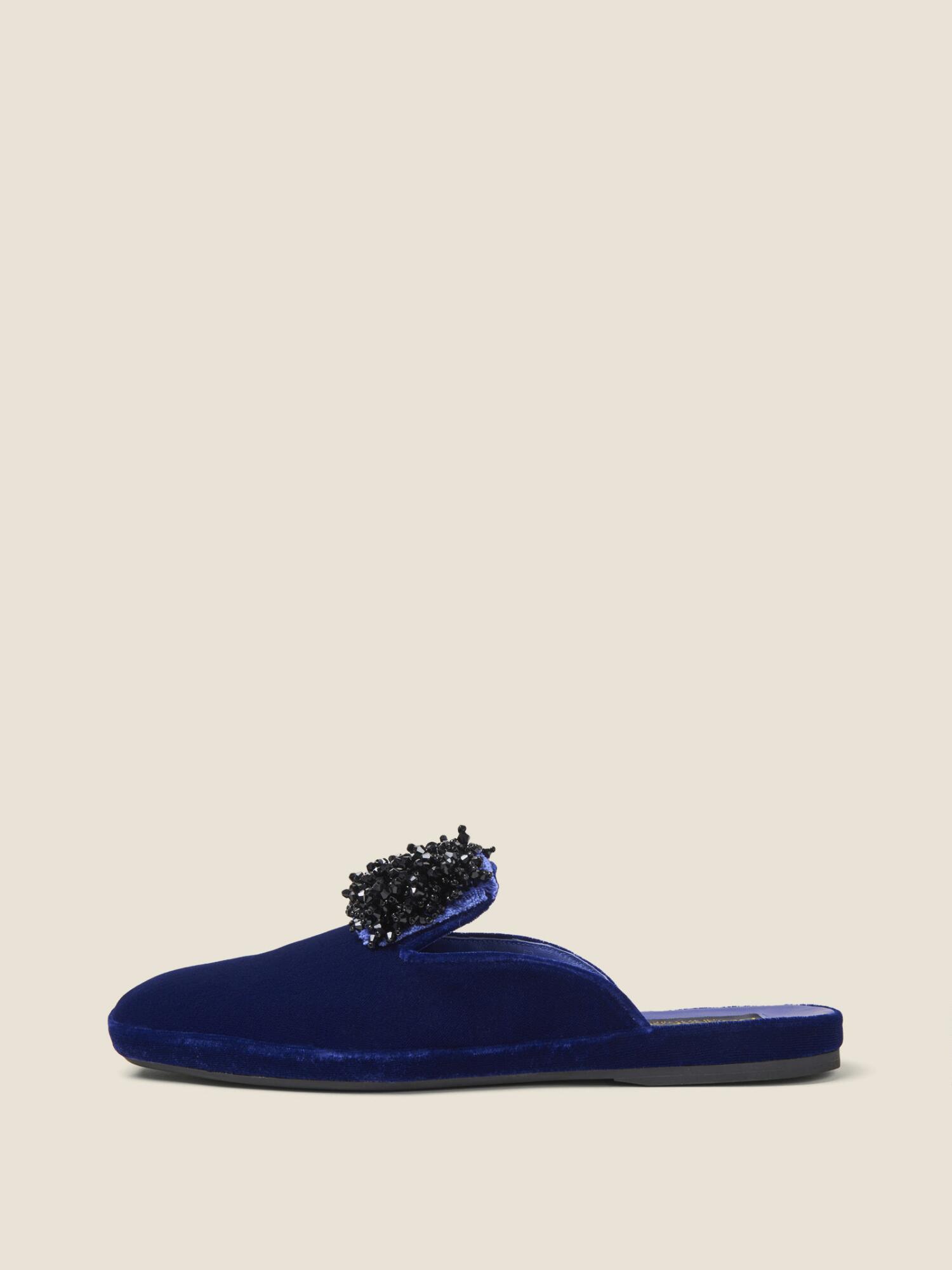 the best attitude d15f6 c6285 Cara Embellished Velvet Slide in Sapphire