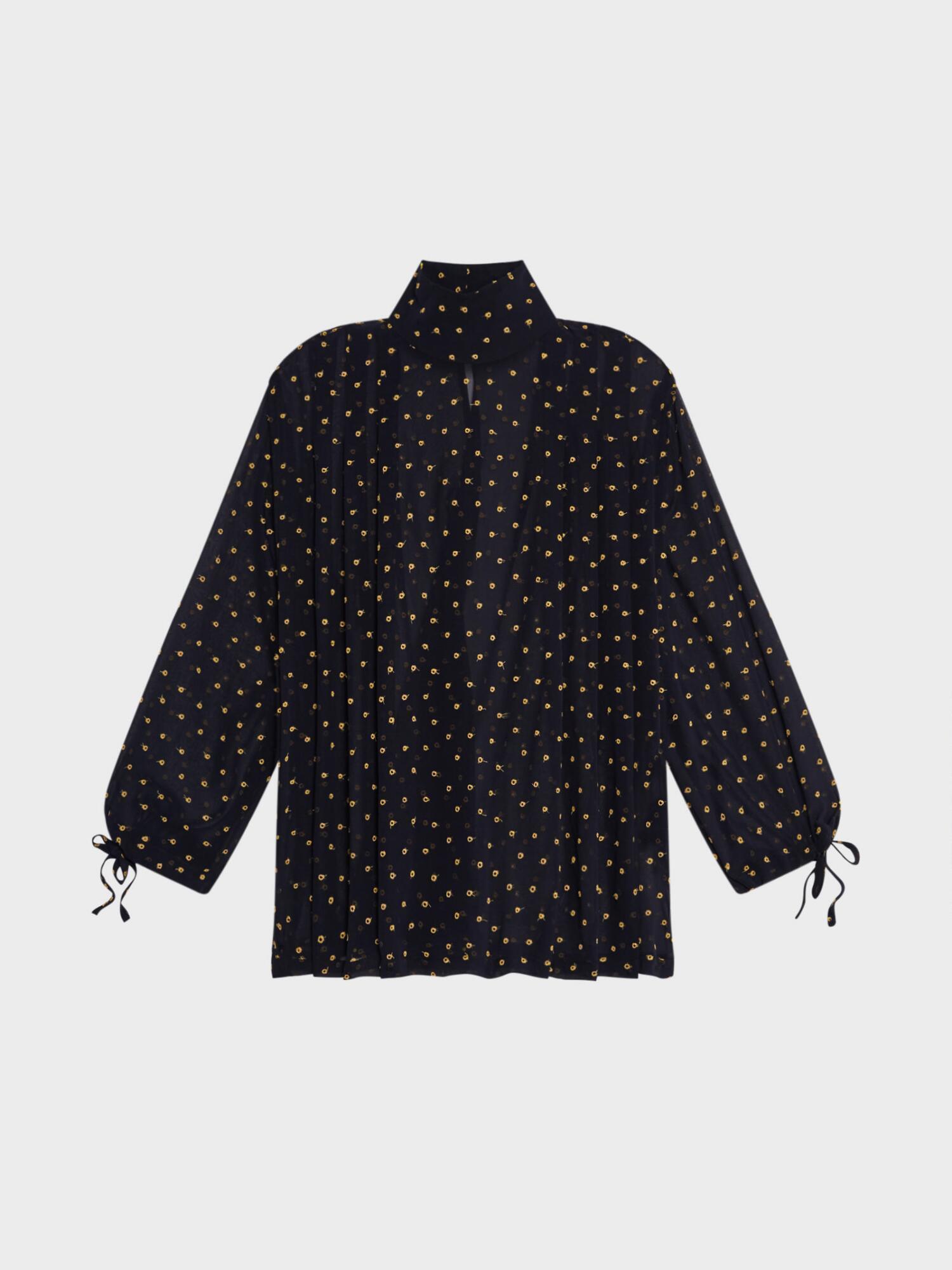 Donna Karan Silk Embroidered Dot Blouse In Royal
