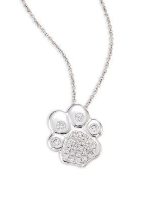 Roberto Coin Paw Diamond & 18K White Gold Pendant Necklace