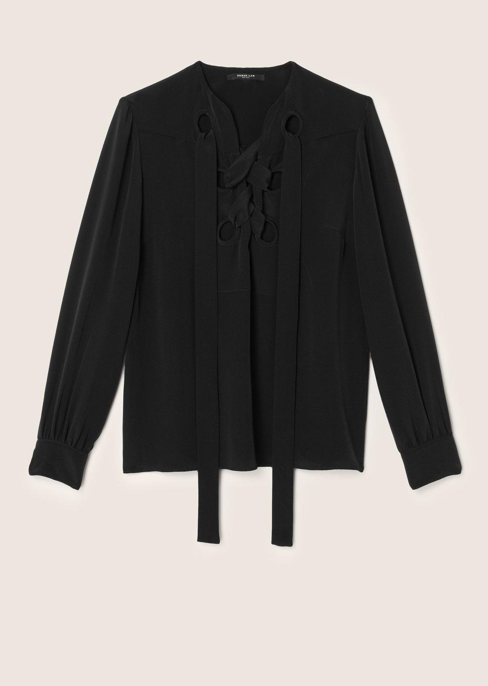 Derek Lam Sarah Lace-Up Blouse In Black