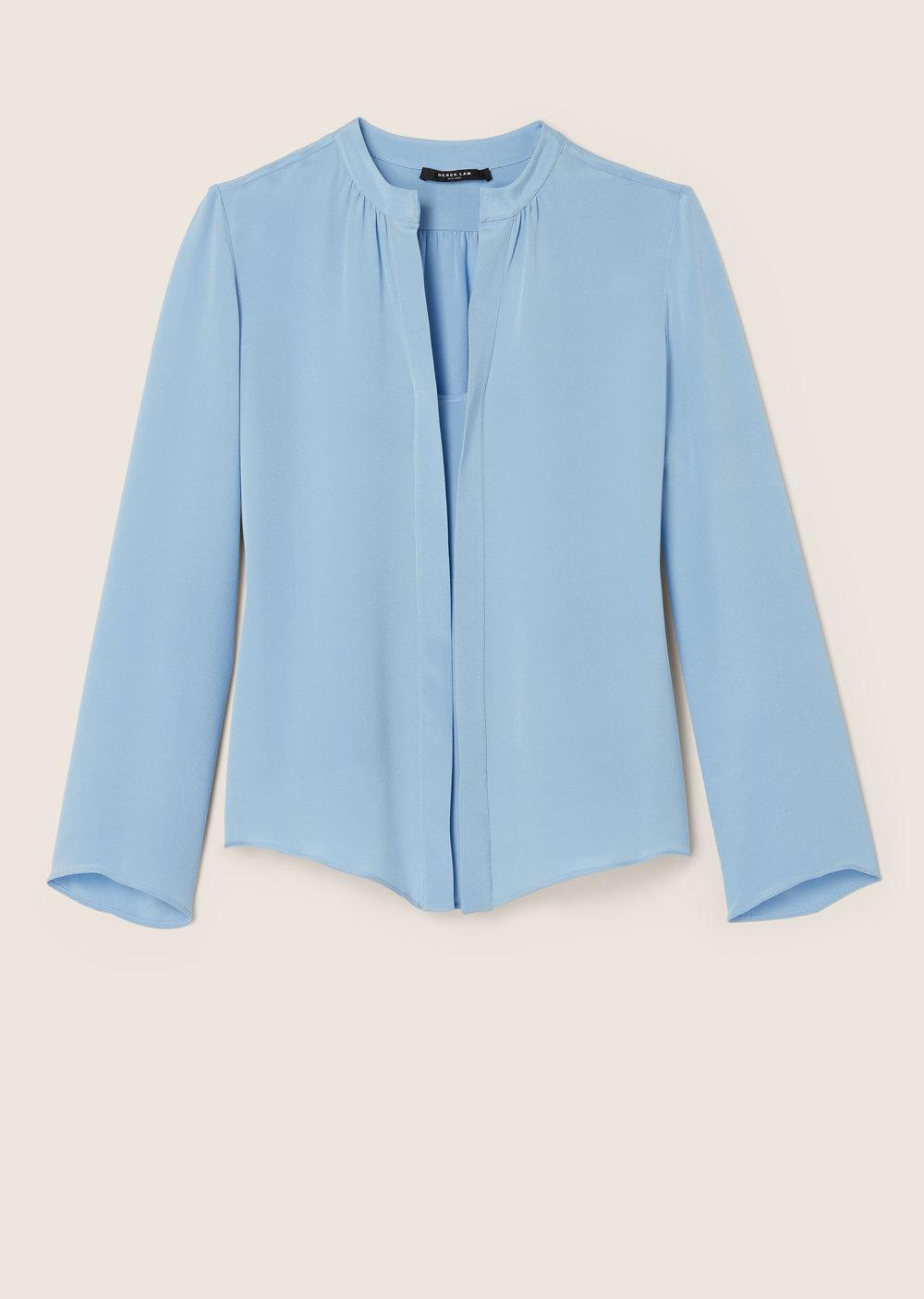 Derek Lam Kara Long Sleeve Blouse In Blue