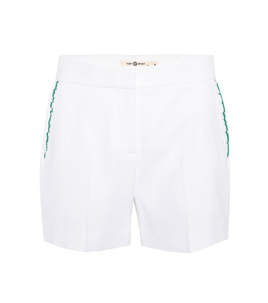 Tory Sport Ruffle-Trimmed Shorts In White