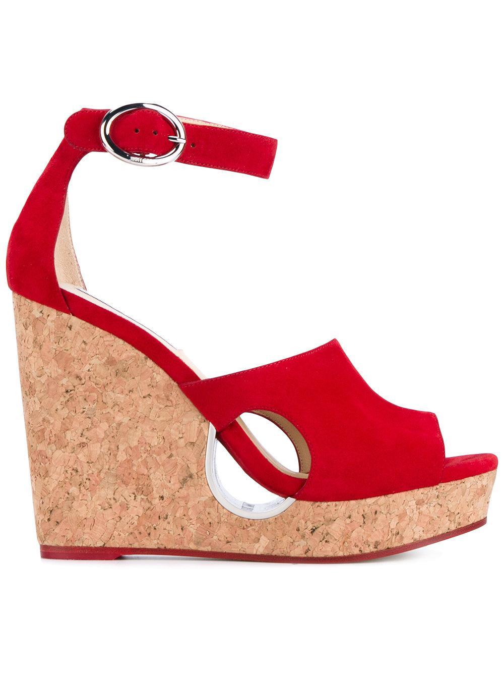 384ee3c8e964 Red suede and leather  Neyo 120  Wedge Heeled Sandals from Jimmy Choo  featuring an open toe