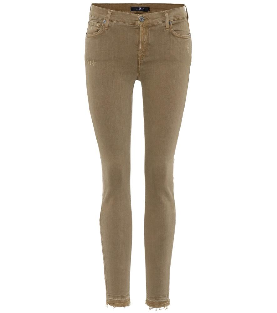 7 For All Mankind Cropped Mid-Rise Skinny Jeans In Green