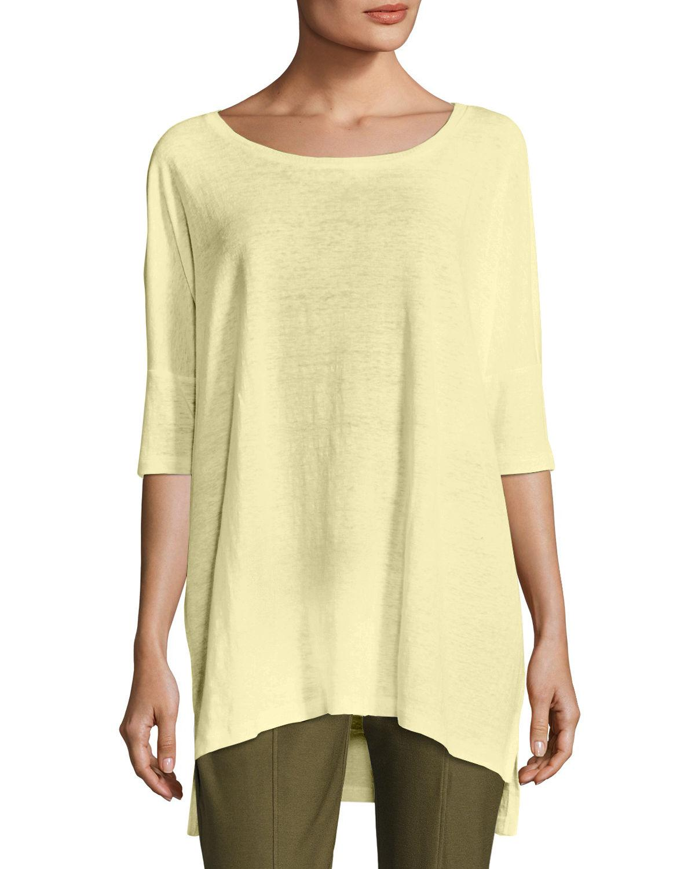 5a864b367e Eileen Fisher Organic Linen Jersey Boxy Tunic In Lemon Ice