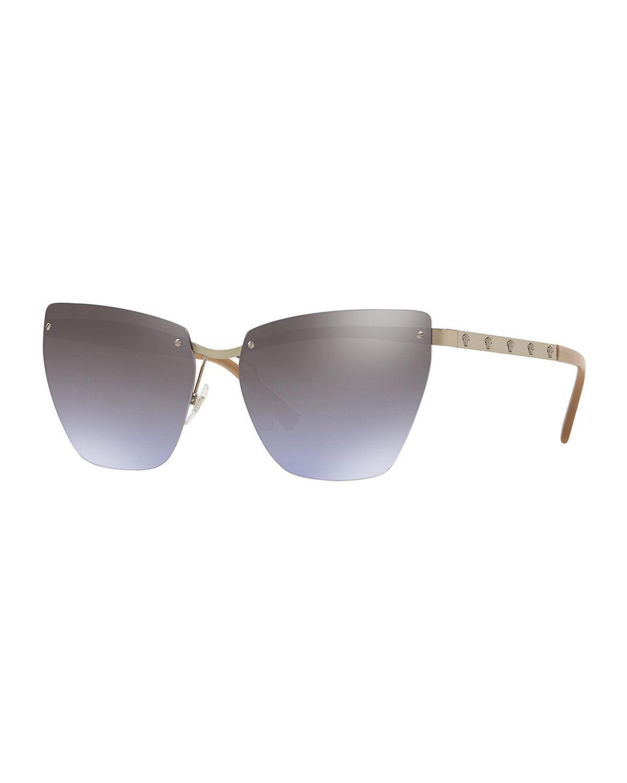 9a8481ac4c3 Versace Medusa 58Mm Metal Cat Eye Sunglasses - Violet Gradient Mirror
