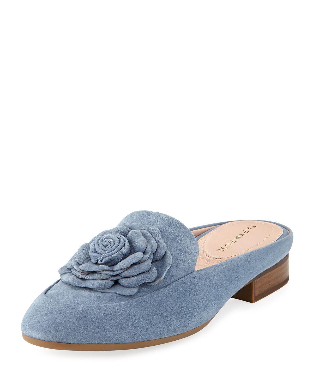 2884d9dafd16 Taryn Rose Blythe Floral Suede Mule Loafer In Denim