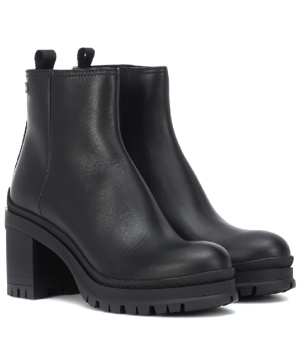 5f19c5184a10 Prada Leather Lug-Sole Platform Booties In Black