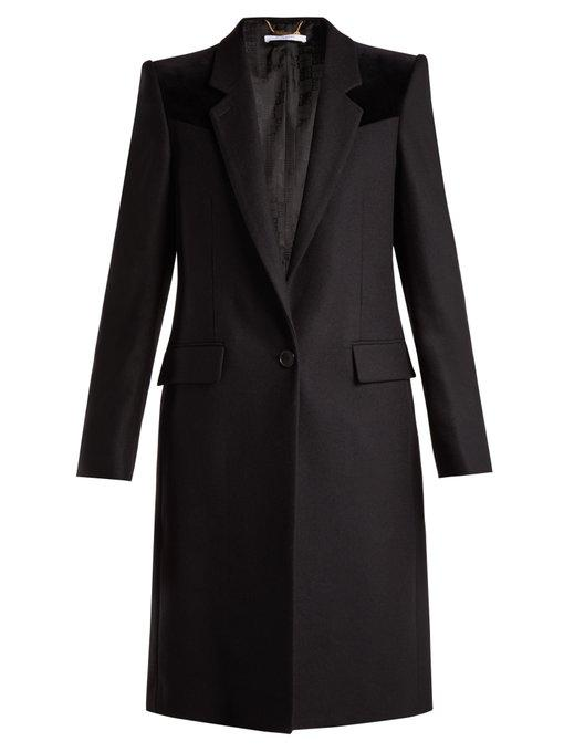 Givenchy Velvet-Trimmed Wool-Blend Coat In Black