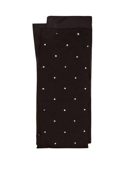 Valentino Crystal-embellished Sheer Tights In Black