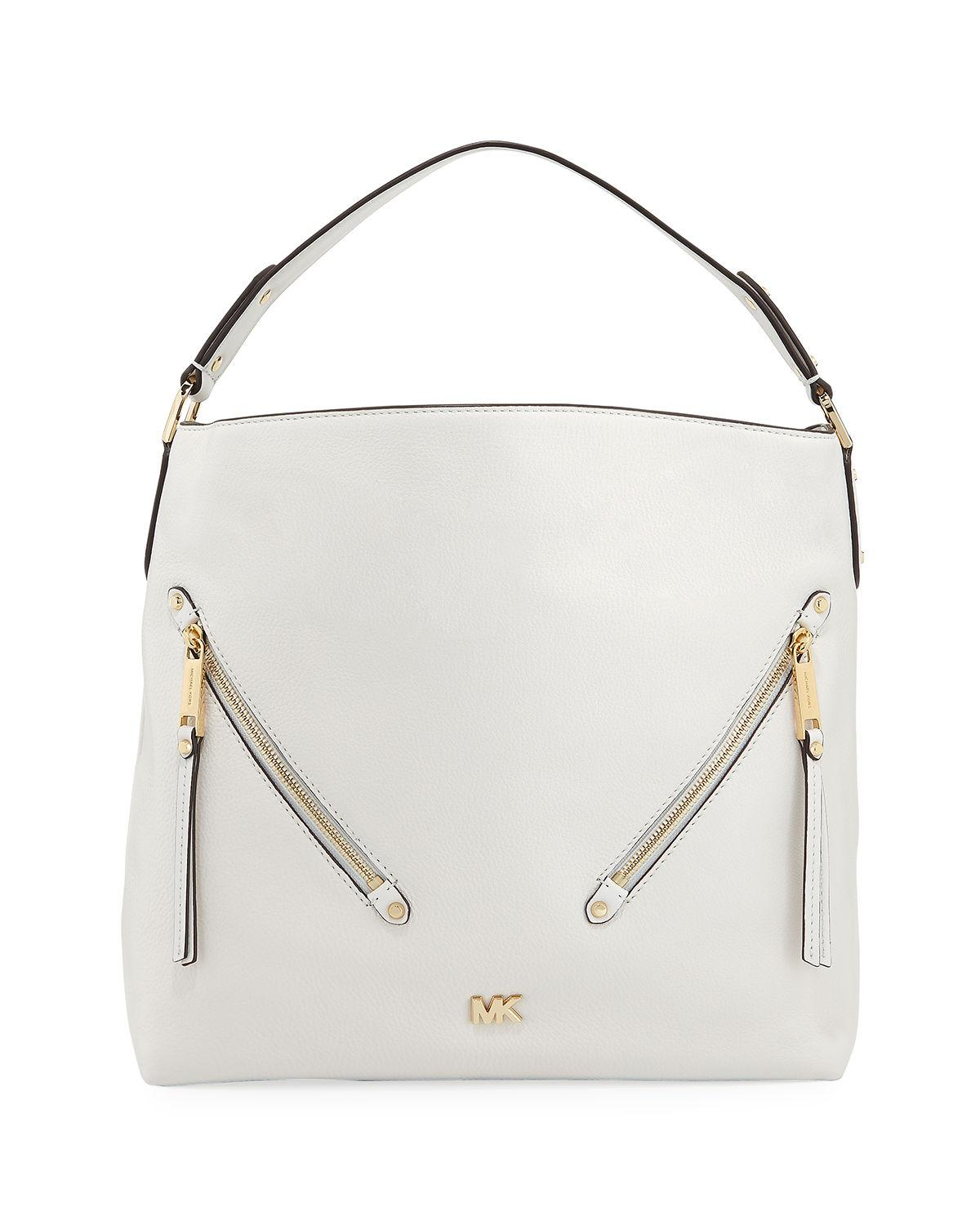 a26d2838013419 Michael Michael Kors Evie Large Leather Hobo Bag In Optic White ...