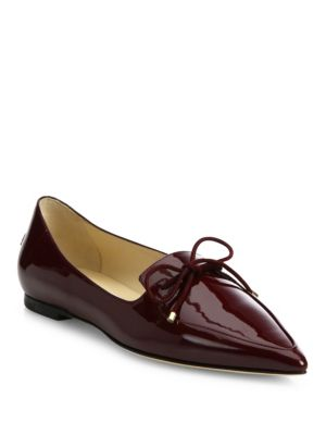 Jimmy Choo Genna Point-toe Patent Leather Flats In Bordeaux