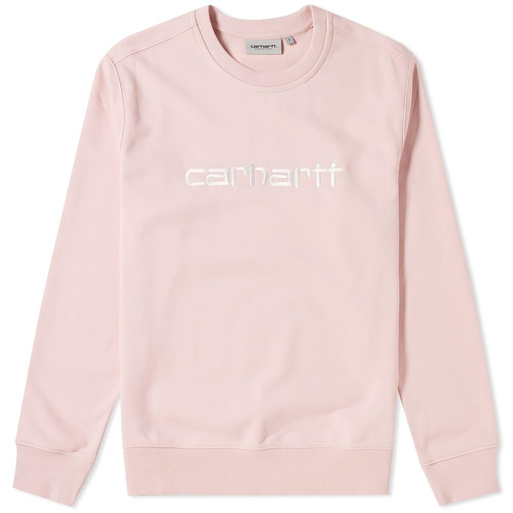 Carhartt Embroidered Logo Crew Sweat In Pink