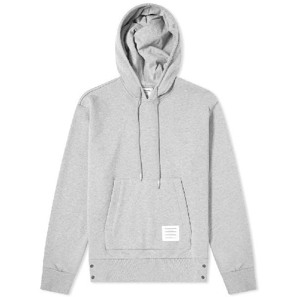 Thom Browne Striped Long-Sleeved Cotton-Jersey Hoody In Grey