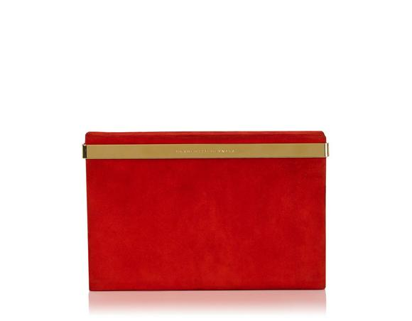 Charlotte Olympia Vanity Leather Clutch Bag, Red