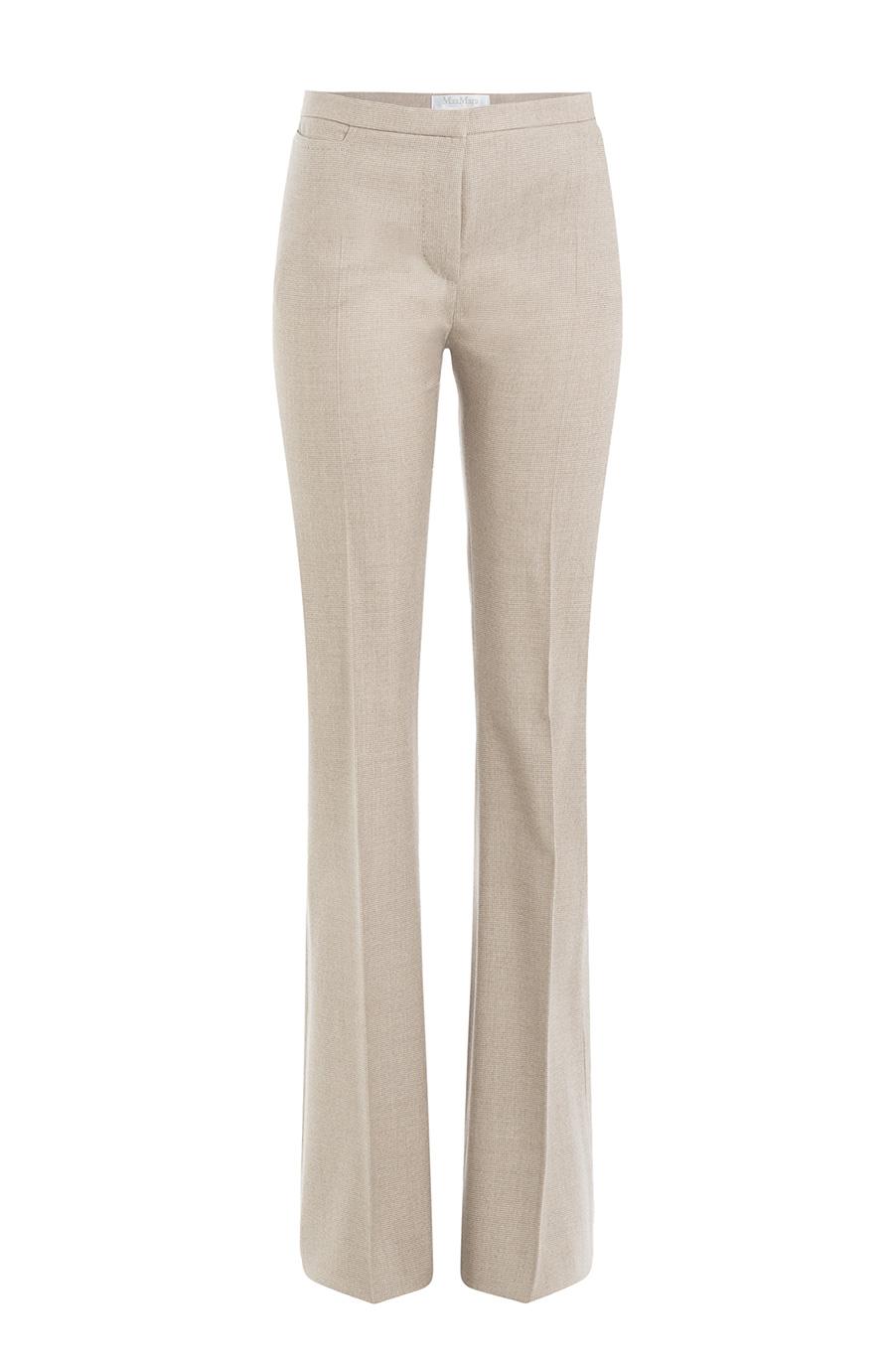 Max Mara Wool & Silk Canvas Pants, Beige