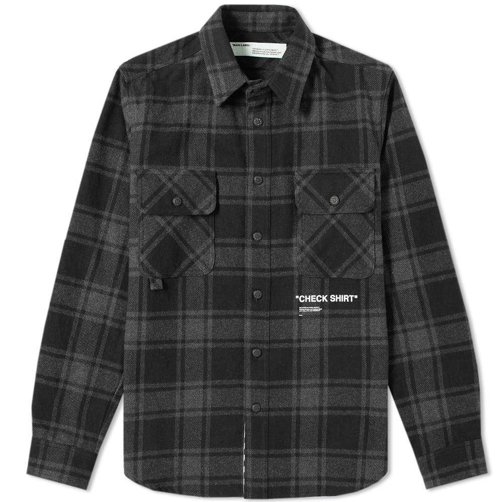 2c5603ceaf3b Off-White Quote Flannel Shirt In Grey