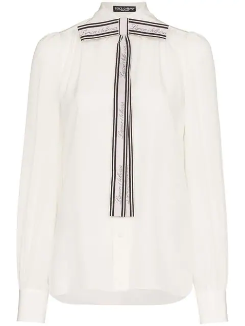Dolce & Gabbana Printed Pussy-Bow Silk Crepe De Chine Blouse In W0111 White