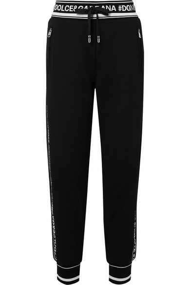 120ee7e882eb Dolce   Gabbana Logo-Striped Cotton French Terry Sweatpants In Black ...