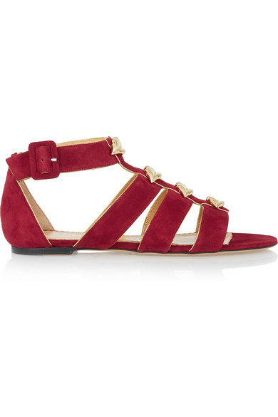 Charlotte Olympia Woman One More Kiss Metallic-Trimmed Suede Sandals Brick In Red