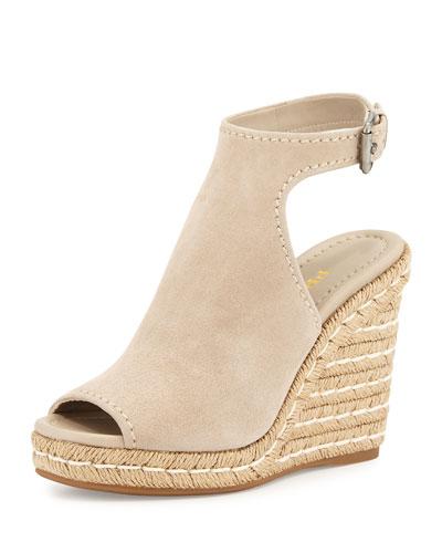 Prada Suede Open-Toe Espadrille Glove Sandal, Quartz (Quarzo) In Beige Suede