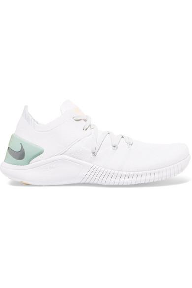 4ad42ec9ff791 Nike Women s Free Tr 3 Flyknit Rise Lace Up Sneakers In White
