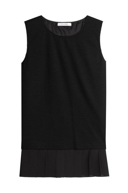 Max Mara Box Pleated Hem Sleeveless Top In Black
