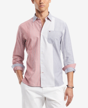 Tommy Hilfiger Men's Milo Striped Classic Fit Shirt, Created For Macy's In Multi