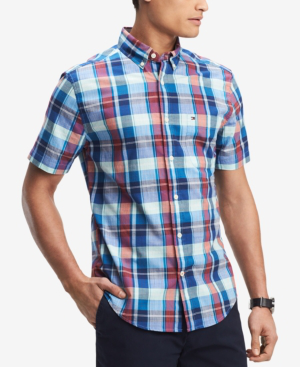 Tommy Hilfiger Men's Hector Madras Plaid Classic Fit Shirt, Created For Macy's In Blue Depths