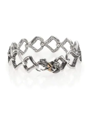 8370be76c298 John Hardy Naga Black Sapphire, 18K Yellow Gold & Sterling Silver Dragon  Link Bracelet