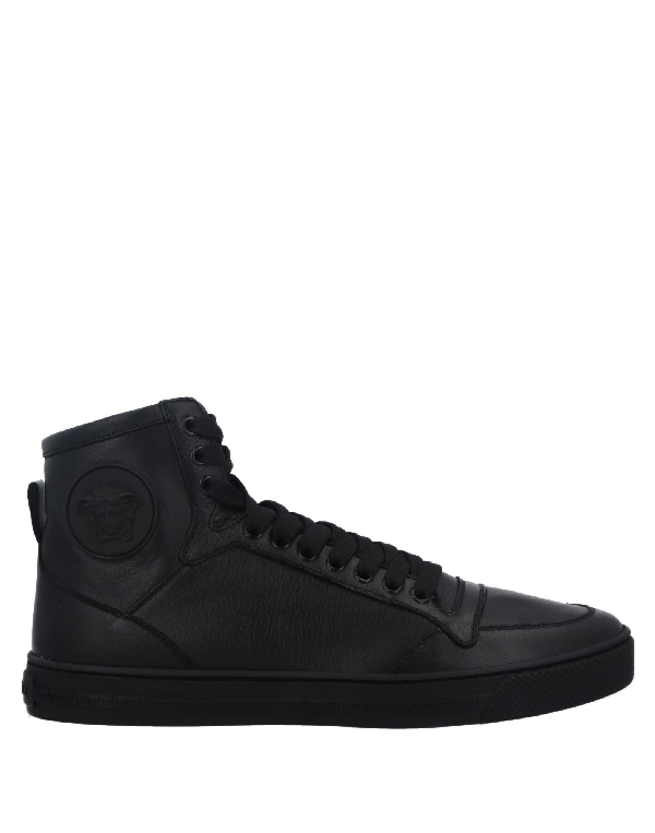 Medusa Smooth Leather High Top Sneakers in Black