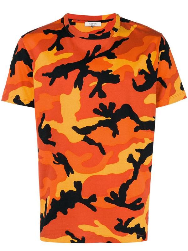 507e00aec Valentino Men's Camouflage Crewneck T-Shirt, Orange   ModeSens
