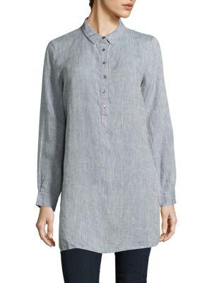 Eileen Fisher Organic Linen Tunic In Chambray
