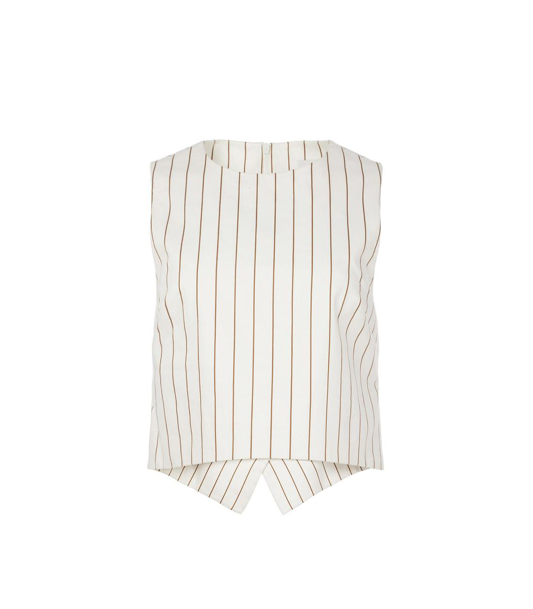 Tibi Ivory Multi Sateen Stripe Sleeveless Top