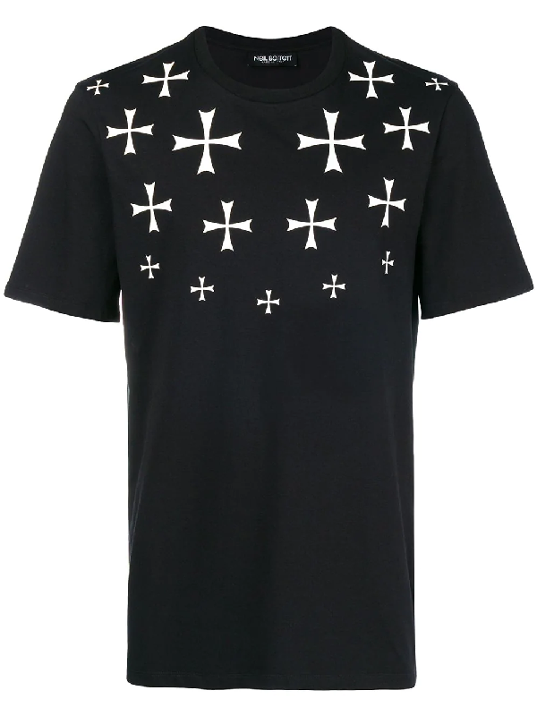 Neil Barrett Military Star Cotton-blend T-shirt In Black