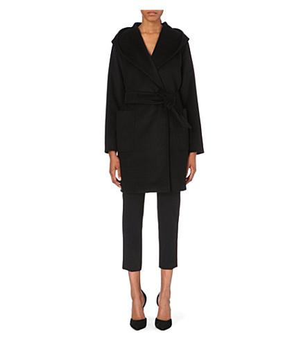 Max Mara Rialto Hooded Camel Coat In Black