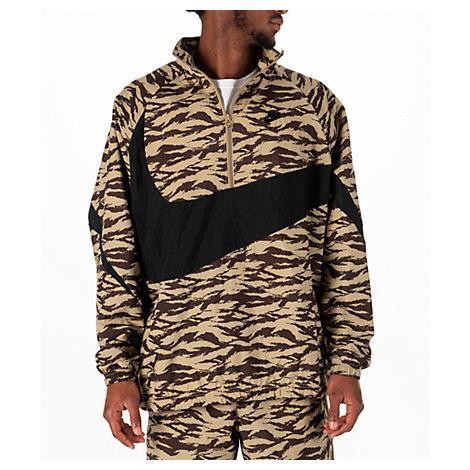 separation shoes 51390 b3734 Nike MenS Sportswear Vaporwave Swoosh Woven Half-Zip Jacket, Brown In Green